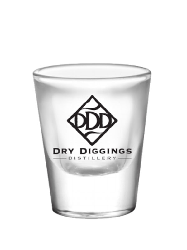 Shot Glass - Dry Diggings Distillery logo